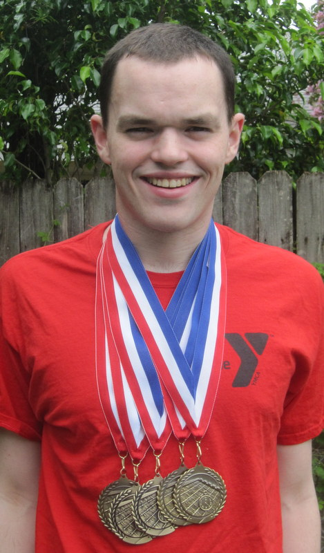 Jesse won a boat load off gold medals at the National Invitational.  He is psyched and ready to go for the County Games.
