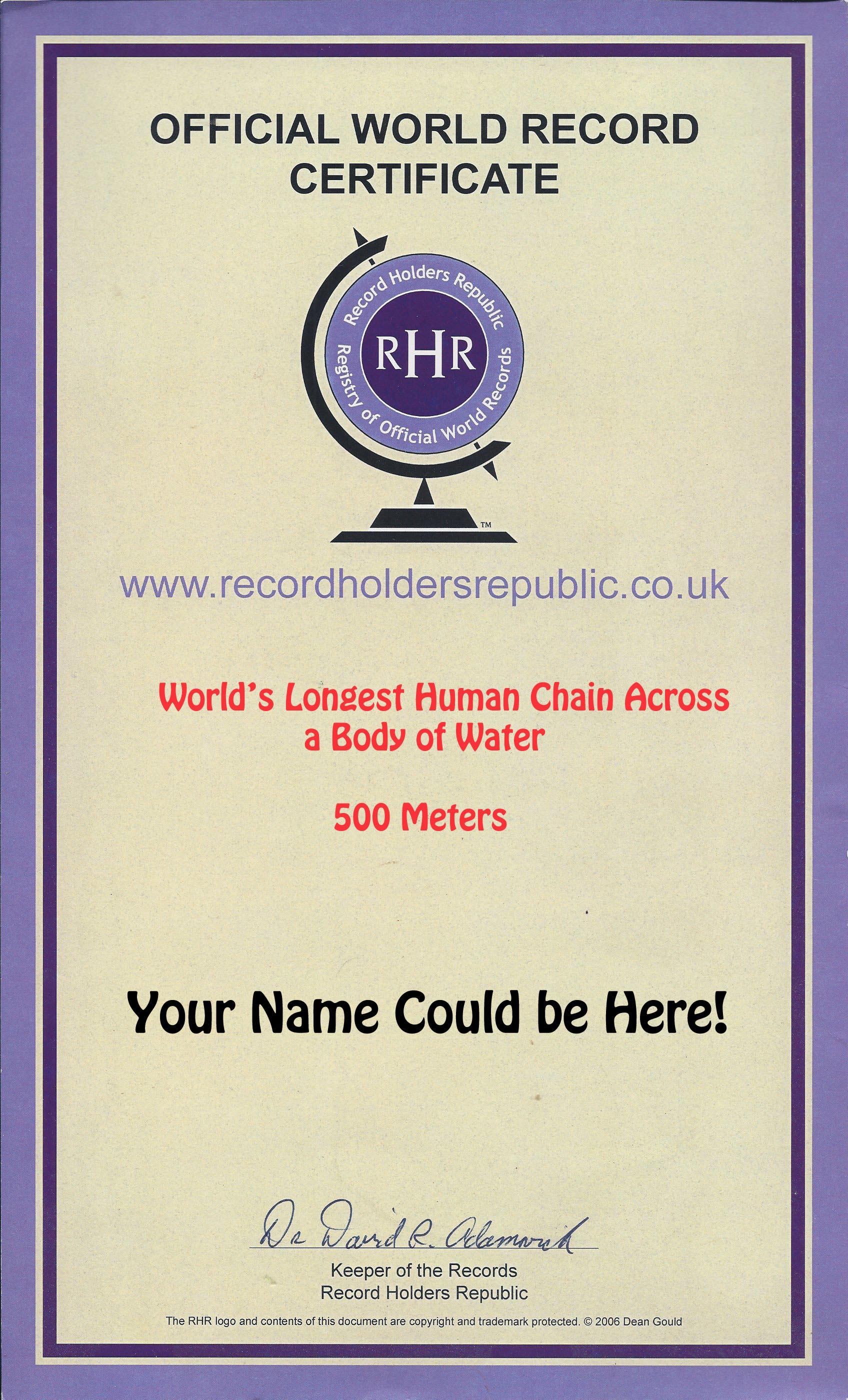 World Record Cert human chain