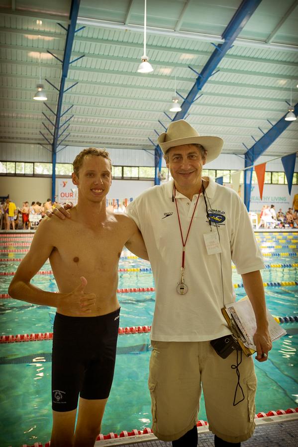 Team record breaker Gregg Dedic and coach Lucky.