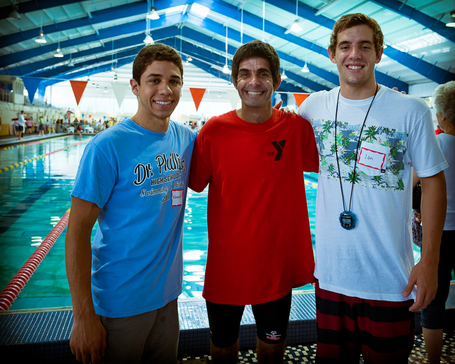A rose between two thorns. Mike (center) between star DP swimmers Eduardo and Ian.