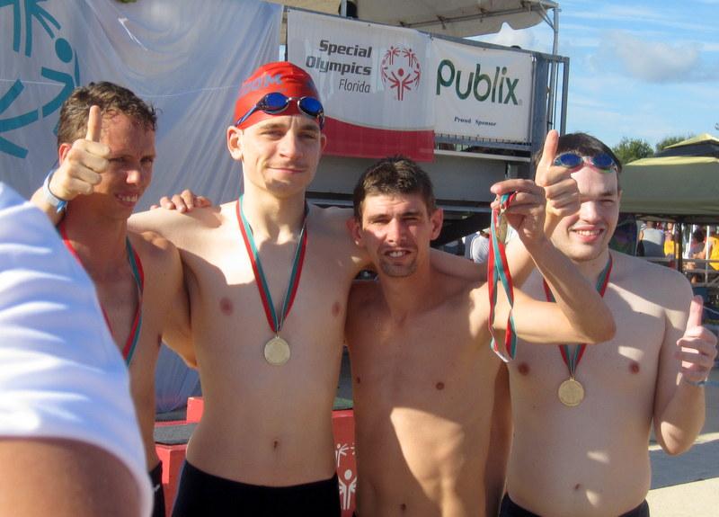 Gold medal medley relay,  Gregg, Ian,  Jonathon,  Jesse.
