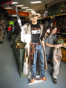 A cutout of Doc Ruger from the Zombie Cause greets visitors to the Zombie Survival Store on Sandlake Road.  I feel safer already.