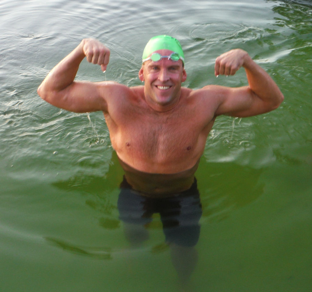 Eric Christensen is the new Lucky's Lake Swim overall record holder swimming a blistering fast 12:10.