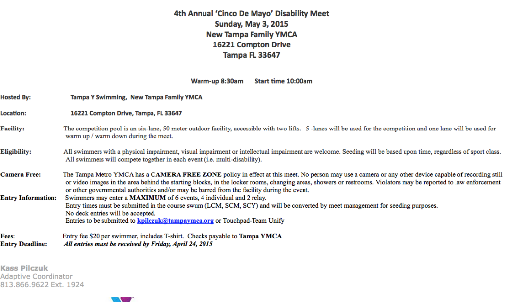 Entries to be submitted to kpilczuk@tampaymca.org or Touchpad-Team Unify